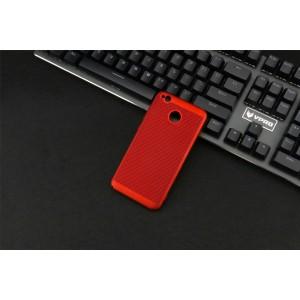 Пластиковый полупрозрачный матовый чехол с улучшенной защитой элементов корпуса и текстурным покрытием Точки для Xiaomi RedMi 4A Красный