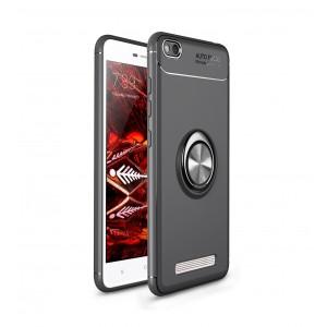 Силиконовый матовый непрозрачный чехол с встроенным кольцом-подставкой для Xiaomi RedMi 4A Черный