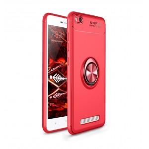 Силиконовый матовый непрозрачный чехол с встроенным кольцом-подставкой для Xiaomi RedMi 4A Красный