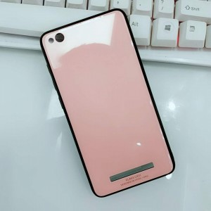 Силиконовый матовый непрозрачный чехол с нескользящими гранями и co стеклянной накладкой для Xiaomi RedMi 4A Розовый