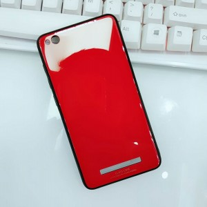 Силиконовый матовый непрозрачный чехол с нескользящими гранями и co стеклянной накладкой для Xiaomi RedMi 4A Красный