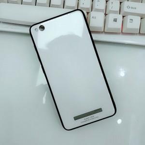 Силиконовый матовый непрозрачный чехол с нескользящими гранями и co стеклянной накладкой для Xiaomi RedMi 4A Белый