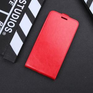 Чехол вертикальная книжка на силиконовой основе с отсеком для карт на магнитной защелке для Iphone 7 Красный