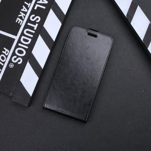 Чехол вертикальная книжка на силиконовой основе с отсеком для карт на магнитной защелке для Iphone 7 Черный