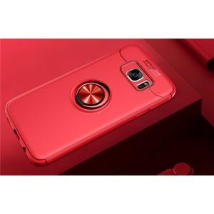 Силиконовый матовый непрозрачный чехол с встроенным магнитным кольцом-подставкой для Samsung Galaxy S7 Edge Красный