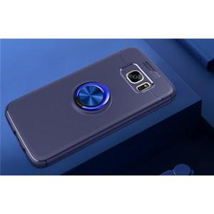 Силиконовый матовый непрозрачный чехол с встроенным магнитным кольцом-подставкой для Samsung Galaxy S7 Edge Синий