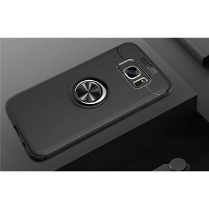 Силиконовый матовый непрозрачный чехол с встроенным магнитным кольцом-подставкой для Samsung Galaxy S7 Edge Черный
