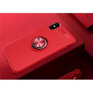 Силиконовый матовый непрозрачный чехол с встроенным магнитным кольцом-подставкой для Iphone x10 Красный