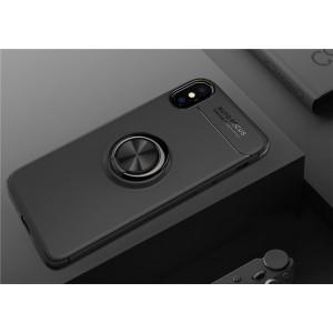 Силиконовый матовый непрозрачный чехол с встроенным магнитным кольцом-подставкой для Iphone x10 Черный