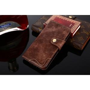 Винтажный чехол портмоне подставка на силиконовой основе с отсеком для карт на крепежной застежке для Alcatel 3 Коричневый