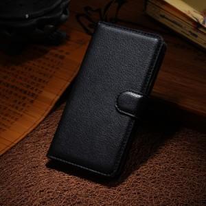 Чехол портмоне подставка на силиконовой основе с отсеком для карт на магнитной защелке для Huawei Honor 6 Черный