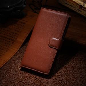 Чехол портмоне подставка на силиконовой основе с отсеком для карт на магнитной защелке для Huawei Honor 6 Коричневый