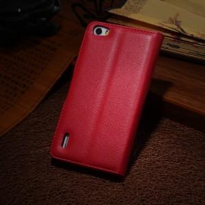 Чехол портмоне подставка на силиконовой основе с отсеком для карт на магнитной защелке для Huawei Honor 6 Красный