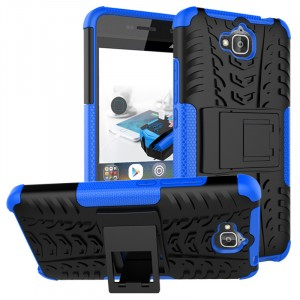 Противоударный двухкомпонентный силиконовый матовый непрозрачный чехол с нескользящими гранями и поликарбонатными вставками экстрим защиты с встроенной ножкой-подставкой и текстурным покрытием Шина для Huawei Honor 4C Pro Синий