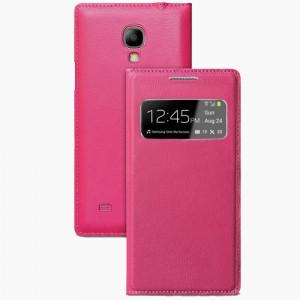 Чехол флип текстура Золото с окном вызова для Samsung Galaxy S4 Mini Розовый