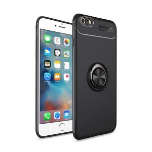 Силиконовый матовый непрозрачный чехол с встроенным магнитным кольцом-подставкой для Iphone 6 Plus/6s Plus Черный