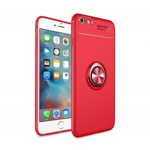Силиконовый матовый непрозрачный чехол с встроенным магнитным кольцом-подставкой для Iphone 6 Plus/6s Plus Красный