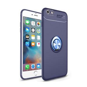 Силиконовый матовый непрозрачный чехол с встроенным магнитным кольцом-подставкой для Iphone 6 Plus/6s Plus Синий