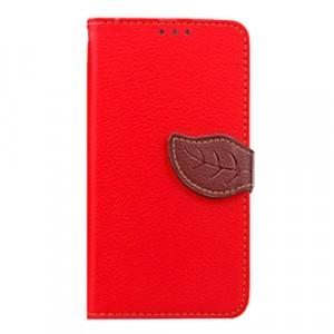 Чехол портмоне подставка на силиконовой основе с отсеком для карт на дизайнерской магнитной защелке для Lenovo A5000 Красный