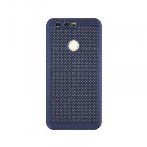 Пластиковый полупрозрачный матовый чехол с допзащитой торцов и текстурным покрытием Точки для Huawei Honor 8 Синий