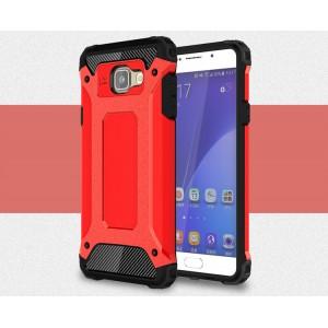 Двухкомпонентный силиконовый матовый непрозрачный чехол с поликарбонатными бампером и крышкой для Samsung Galaxy A5 (2016) Красный