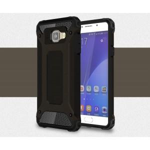 Двухкомпонентный силиконовый матовый непрозрачный чехол с поликарбонатными бампером и крышкой для Samsung Galaxy A5 (2016) Черный