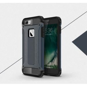 Двухкомпонентный силиконовый матовый непрозрачный чехол с поликарбонатными бампером и крышкой для Iphone 7 Plus Синий