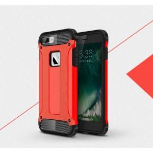 Двухкомпонентный силиконовый матовый непрозрачный чехол с поликарбонатными бампером и крышкой для Iphone 7 Plus Красный