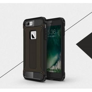 Двухкомпонентный силиконовый матовый непрозрачный чехол с поликарбонатными бампером и крышкой для Iphone 7 Plus Черный