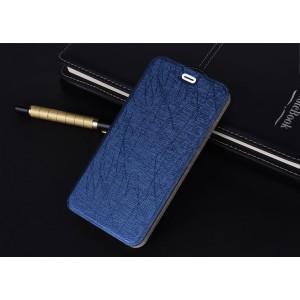 Чехол флип подставка текстура Линии на силиконовой основе для Huawei Honor 6X Синий