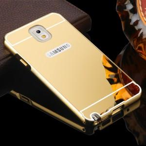 Двухкомпонентный чехол c металлическим бампером с поликарбонатной накладкой и зеркальным покрытием для Samsung Galaxy Note 3 Бежевый