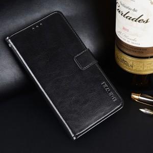 Глянцевый водоотталкивающий чехол портмоне подставка на силиконовой основе с отсеком для карт на магнитной защелке для Alcatel U5 Черный