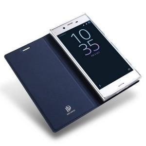 Чехол флип подставка на силиконовой основе для Sony Xperia XZ/XZs Синий