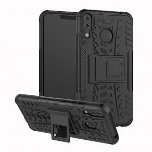 Противоударный двухкомпонентный силиконовый матовый непрозрачный чехол с поликарбонатными вставками экстрим защиты с встроенной ножкой-подставкой и текстурным покрытием Шина для ASUS ZenFone 5 ZE620KL Черный