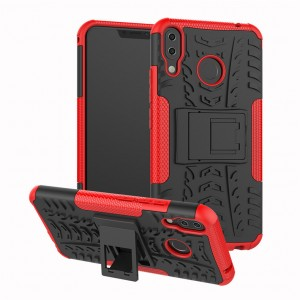 Противоударный двухкомпонентный силиконовый матовый непрозрачный чехол с поликарбонатными вставками экстрим защиты с встроенной ножкой-подставкой и текстурным покрытием Шина для ASUS ZenFone 5 ZE620KL Красный