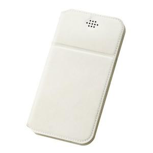 Горизонтальный чехол флип-подставка на клеевой основе с отсеком для карт для смартфонов 4.7-5.0 Белый