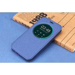 Чехол флип подставка на силиконовой основе с окном вызова для ASUS Zenfone Go Синий