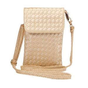 Чехол сумка из плетеной кожи с тремя внутренними отсеками и задним карманом на молнии Желтый