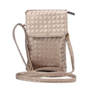 Чехол сумка из плетеной кожи с тремя внутренними отсеками и задним карманом на молнии Бежевый