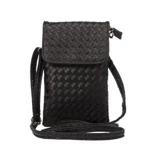 Чехол сумка из плетеной кожи с тремя внутренними отсеками и задним карманом на молнии Черный