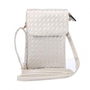Чехол сумка из плетеной кожи с тремя внутренними отсеками и задним карманом на молнии Белый