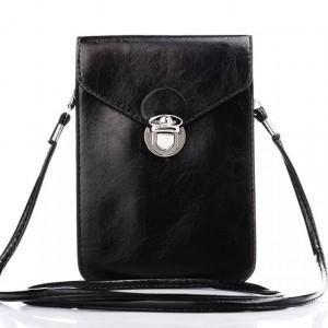 Кожаная глянцевая сумка для смартфона с двумя внутренними карманами Черный