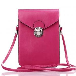 Кожаная глянцевая сумка для смартфона с двумя внутренними карманами Пурпурный