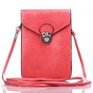 Кожаная глянцевая сумка для смартфона с двумя внутренними карманами Красный