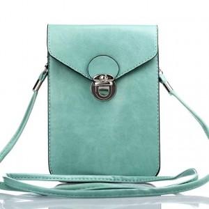 Кожаная глянцевая сумка для смартфона с двумя внутренними карманами Зеленый
