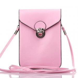 Кожаная глянцевая сумка для смартфона с двумя внутренними карманами Розовый