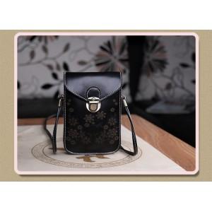 Чехол- сумка на магнитной защелке с принтом цветы и двумя внутренними отсеками Черный