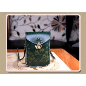Чехол- сумка на магнитной защелке с принтом цветы и двумя внутренними отсеками Зеленый