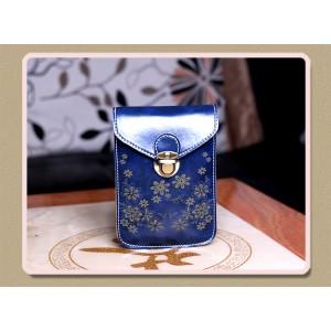 Чехол- сумка на магнитной защелке с принтом цветы и двумя внутренними отсеками Синий