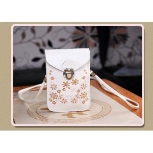 Чехол- сумка на магнитной защелке с принтом цветы и двумя внутренними отсеками Белый